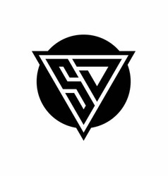 Sd logo with negative space triangle and circle vector