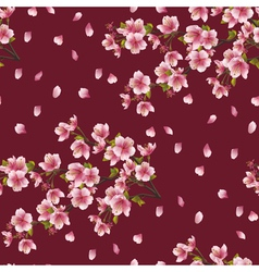 Seamless background texture with branch of cherry vector image