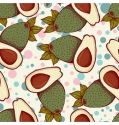 Seamless pattern with whole and half avocado vector