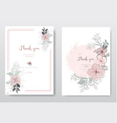 Set beautiful pink flower with black line card vector