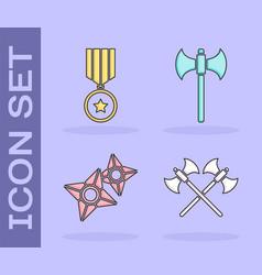 Set crossed medieval axes military reward medal vector