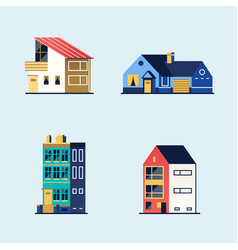 set of houses suburban house town house vector image