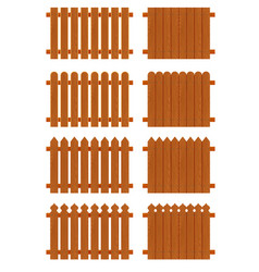 Set of wooden fences sections of different forms vector