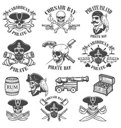 set pirate emblems isolated on white vector image
