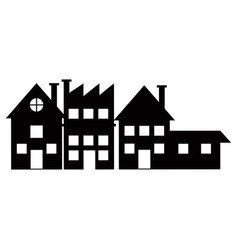 Silhouette houses bulding city neighborhood vector