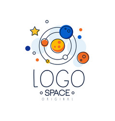 Space logo original exploration of space label vector