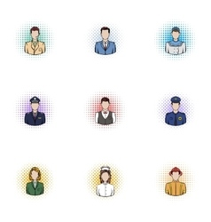 Specialty icons set pop-art style vector