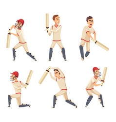 sport players of cricket characters vector image