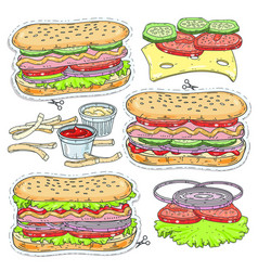 sticker icon cartoon tasty hot dog with vector image