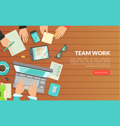 team work top view workplace and working vector image