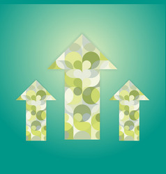Three green patterned multi-colored arrows vector