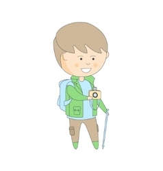 Tourist In Travel Outfit With Backpack And Camera vector