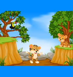 two tiger and toucan with mountain cliff scene vector image