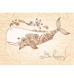 Vintage card with happy whale vector