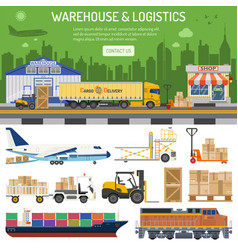 warehouse and logistics banner vector image