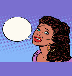 Woman is afraid and speaks african-american vector