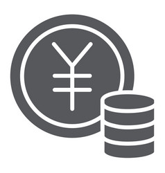 Yen coin glyph icon finance and banking money vector