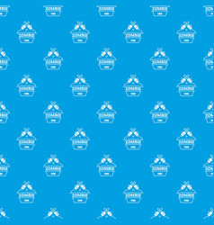 Zombie attack pattern seamless blue vector