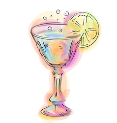 abstract cocktail and lemon vector image