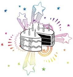 doodle pop cake birthday vector image vector image
