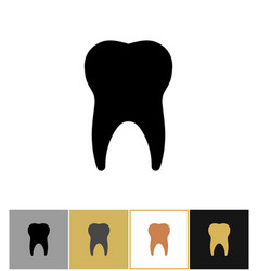 tooth icon dental teeth silhouette symbol on gold vector image vector image