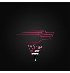 wine bottle corkscrew design background vector image
