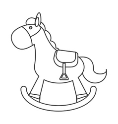 Wood rocking horse icon vector