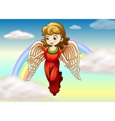 An angel and a rainbow vector image vector image