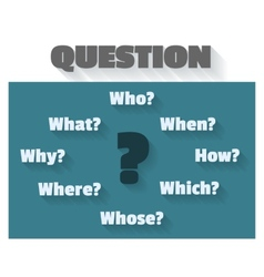Question marks and words - who how when which why vector image