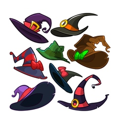 Set of Halloween witch hats icons vector image
