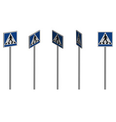 traffic sign pedestrian crossing in 3d vector image