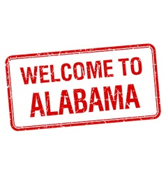 welcome to Alabama red grunge square stamp vector image vector image