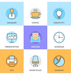 Abstract collection of flat line office and vector image