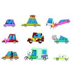 cartoon car comic minicar and broken vector image