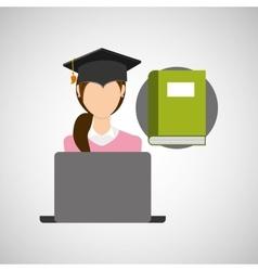 character graduation book online education vector image