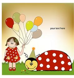 Happy birthday card with ladybug vector