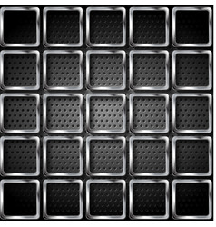 metallic squares on perforated texture background vector image vector image