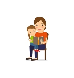 Mother and daughter reading book vector image vector image