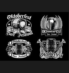 oktoberfest badge collection in black and white vector image vector image