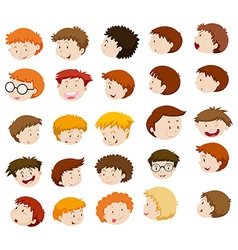 Boy heads with different expressions vector image
