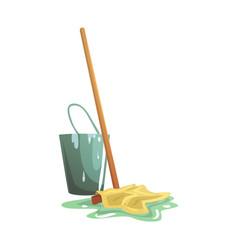 Bucket and floor cleaning broom or mop cartoon vector