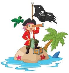 Cartoon captain holding binoculars vector image