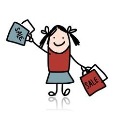 Cute girl with shoppibg bags cartoon for your vector image