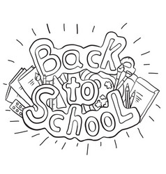 doodle text back to school with various school vector image