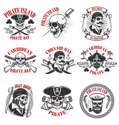 pirate emblems onwhite background corsair skulls vector image