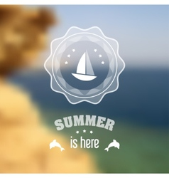 Seaside blurred landscape with summer symbols vector image vector image
