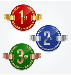 1st 2nd 3rd awards emblems vector image