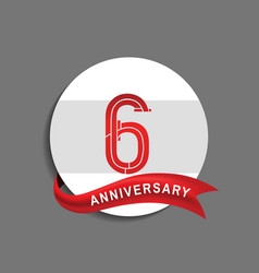 6 anniversary with white circle and red ribbon vector