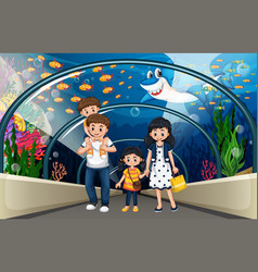 A family at sea aquarium vector