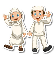 A sticker template with couple muslim kids vector